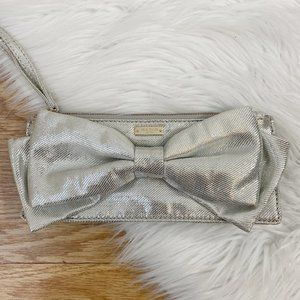 Kate Spade Metallic Silver Wristlet with Big Bow